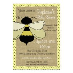 Bumble Bee and Burlap Bridal Shower Custom Invites