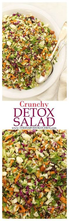 Ready for some salad love? This Crunchy Detox Salad is an ultra simple recipe both for the salad and its dressing. It's made with fresh, local and organic ingredients that are crisp and bursting with flavor. detox salad recipes healthy recipes d Healthy Salad Recipes, Detox Recipes, Whole Food Recipes, Healthy Snacks, Vegetarian Recipes, Juice Recipes, Vegetarian Cooking, Dessert Healthy, Soup Recipes