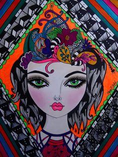 """GREEN EYES"" by Mary R. Artist."