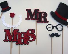 Wedding Photo Booth Props - Mr and Mrs Sign, LOVE Props, Adorable Top Hat with Glitter Band.. $35.00, via Etsy.