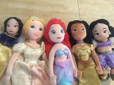Disney Princess Plush Doll Lot Ariel Rapunzel Pocahontas Snow White Jasmine