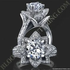 Very Unique Engagement Rings, Rose Flower Engagement Rings, Antique & Vintage Rings. The Blooming Beauty Rings are One of a Kind Designer Rose Rings. Round Diamond Engagement Rings, Designer Engagement Rings, Diamond Rings, Diamond Cuts, Ring Ring, Wedding Band, Wedding Rings, Thing 1, Vintage Rings