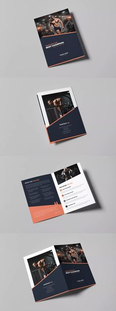 Gym Bi-Fold Brochure Template PSD - A4 and US Letter Size