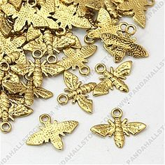 Tibetan Style Pendants, Lead Free and Cadmium Free, Bee, Antique Golden