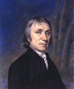 Quarter-length portrait of a man in a black coat against a purple and blue curtain backdrop.Joseph Priestley FRS (/ˈpriːstli/;[2] 24 March [O.S. 13 March] 1733 – 6 February 1804) was an 18th-century English theologian, English Dissenters clergyman, natural philosopher, chemist, innovative grammarian, multi-subject educator, and Liberal political theorist who published over 150 works.  He is usually credited with the discovery of oxygen,[3] having isolated it in its gaseous state, although…