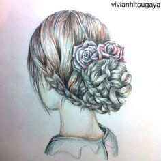 Gallery For > Girl With Flowers In Hair Drawing