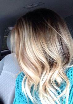 Hair Color Trends 2018 Highlights : My blonde balayage ombre long bob Balayage Ombré Blond, Ombre Blond, Hair Color Balayage, Ombré Hair, New Hair, Blonde Hair, Looks Style, Looks Cool, Medium Hair Styles