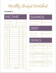 college budget template free printable for students the