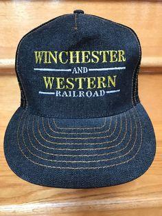 63ff62e1dbc Winchester and Western Railroad Vintage Cap Hat Dark Denim Snap Back   OttoCap  Trucker Snap