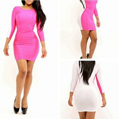 ELEGANT FASHION LADIES WHITE PINK PATCH WORK SEXY PARTY RETRO BODYCON FULL SHOULDER BANDAGE OUTFIT WOMEN'S VINTAGE CAUSAL DRESS CUTOUT