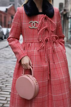 Bows with Brooches // Pink with Red #plaid #chanel