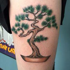 Cedar bonsai tree done by the talented Zach Hewitt at Whole Shot Detroit in Berkley MI Bonsai Tree Tattoos, Bonsai Art, Tattoo Designs, Tattoo Ideas, Tattoo Drawings, Detroit, Tatoos, Body Art, Ink