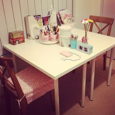 Shared desk space for the girls from ikea