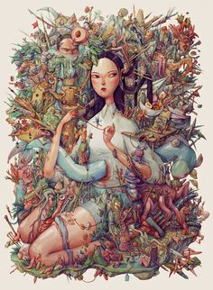 My Giant Watercolor Eden by artist Maria Tiurina.   Found on Behance