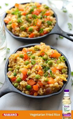Get a delicious Asian-inspired meal that's also nutritious! Made with short-grain brown rice, fresh veggies and Nakano Roasted Garlic Seasoned Rice Vinegar, this Vegetarian Fried Rice is low in sodium, gluten-free and perfect as a savory side or mouthwatering main dish.