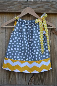 Polka Dot and Chevron Pillowcase Dress for Babies, Children, and Girls. Grey and Mustard. Also Makes a Great Easter Dress.. $24.00, via Etsy.