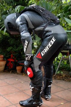 #Dainese leather one piece racing suit: Black-Grey-Red. #LeatherBiker