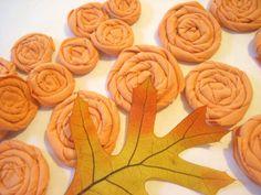 25 Orange Rolled Fabric Flowers  Fall Halloween by whatshername