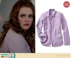 975e776dac Lydia s purple pin dot shirt and black floral skirt on Teen Wolf