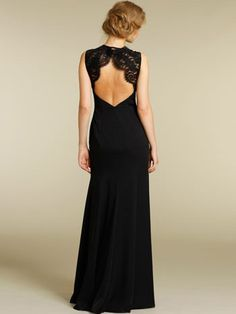 black chiffon floor length dress scoop neckline lace shoulder straps