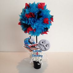 Thomas The Train Birthday Party Decoration, Centerpiece, Thomas and Friends centerpieces and decorations Thomas Birthday Parties, Thomas The Train Birthday Party, Trains Birthday Party, Elmo Party, Birthday Party Themes, 3rd Birthday, Birthday Ideas, Zug Party, Chuggington Birthday