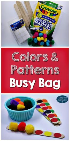Great preschool pattern activity! Build pom-pom patterns on craft sticks. A great hands -on activity for kids to work on fine motor skills, patterns, and colors!