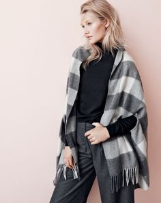 It's a scarf. It's a cape. It's both (!) in classic buffalo check. J.Crew women's cape-scarf in oversized plaid.