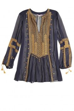 Semi sheer navy blouse with gold embroidery