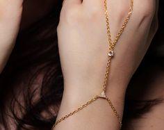 Hand Chain Diamond Bracelet 14K Yellow Gold Slave Bracelet