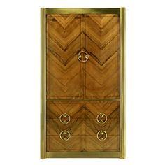 Mastercraft Zebrano Wood and Patinated Brass Tall Wardrobe Cabinet | See more antique and modern Wardrobes and Armoires at https://www.1stdibs.com/furniture/storage-case-pieces/wardrobes-armoires