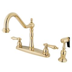 "Kingston Brass KB1752ALBS 8"" Center Kitchen Faucet with Brass Sprayer Heritage Polished Brass"