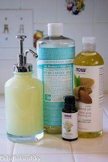DIY Jasmine Natural Face and Body Wash  8 oz Dr. Bonner's Baby-Mild Castille Soap 8 oz distilled water 1 TB Almond oil 20 drops jasmine fragrance  10 drops geranium essential oil