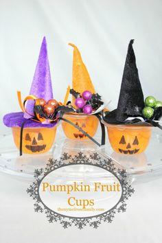 Pumpkin Fruit Cups - love non-candy ideas for Halloween!