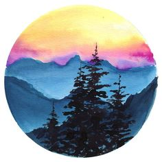 Sunset Mountain Watercolor Paint Kit - paint and art Watercolor Sunset, Watercolor Landscape, Landscape Paintings, Watercolor Paintings Tumblr, Mountains Watercolor, Sunset Landscape, Abstract Art Paintings, Watercolor Circles, Watercolor Art Diy