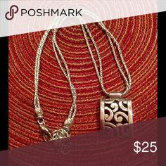 Brighton rectangular pendant necklace Silver Brighton necklace with rectangular pendant with multi strand chain. Brighton Jewelry Necklaces
