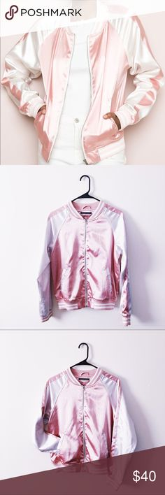 fcad27a0f1c CCO✨ Brandy Melville Pink Satin Ellie Jacket Rare Brandy Melville Pink  Ellie Satin Bomber 💗💗💗 Adorable jacket