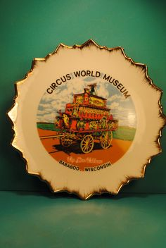 ROAD TRIP BARABOO Circus World Wisconsin by CaitiesFleaCircus, $20.00SOUVENIR STATE PLATE classic cool and retro chic.....souvenir state plate with great details and design collectible no.1   size: 8 inches  these are so cool to hang on the wall, brings a bit of vintage charm to any room... as a memento of a travel, where you wish to go, a childhood memory, where your loved ones live.....where you live...... Tangible remembrances of the great american road trip...... caities flea circus…