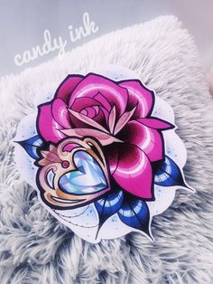 #neo #traditional #rose #crystal #diamond #heart #girly #tattoo #design