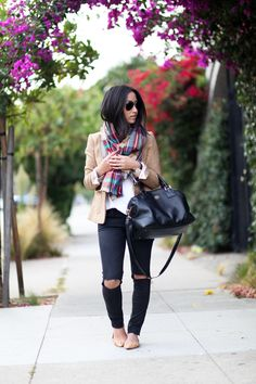 Black Pants with White Shirt and Beige Jacket and Colored Scarf