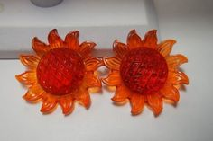VINTAGE RARE RETRO ORANGE LUCITE PLASTIC SUNFLOWERS CLIP EARRINGS  2'' WIDE in Jewelry & Watches, Vintage & Antique Jewelry, Costume, Retro, Vintage 1930s-1980s, Earrings | eBay