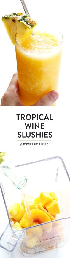 All you need is some white wine, frozen fruit, and a splash of orange liqueur (optional) for this quick and easy Tropical Wine Slushies recipe!  They're the perfect summer cocktail, and ready to enjoy in less than 5 minutes. | gimmesomeoven.com