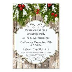 winter woodland rustic holiday party invitations holiday cards #holidays #christmas #xmas