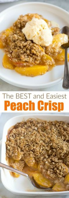 This Peach Crisp recipe is EASY and unbelievably delicious. Fresh peaches in a simple syrup, topped with an amazing cinnamon oat topping and baked. Serve warm, with vanilla ice cream! #easy #healthy #crumble #withoatmeal #peaches #crisp #dessert
