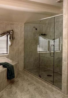 Custom Frameless Doors can be hinged off the wall or off an adjacent glass panel. Can be installed with a header rail or fixed to the ceiling Bathroom Shower Panels, Frameless Shower Doors, Bathtub Shower, Glass Bathroom, Shower Enclosure, Master Bathroom, Neo Angle Shower, Modern White Bathroom, Shower Units