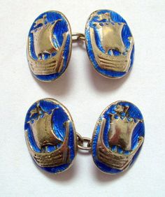 ALEXANDER RITCHIE IONA CELTIC ARTS AND CRAFTS SILVER & ENAMEL GALLEY CUFF LINKS