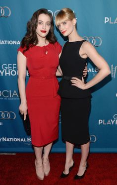 Kat Dennings in a Stop Staring! Dress and Beth Behrs in Moschino