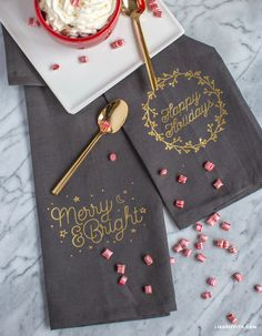 DIY Happy Holiday Tea Towel Gift Idea by MIchaelsMakers Lia Griffith
