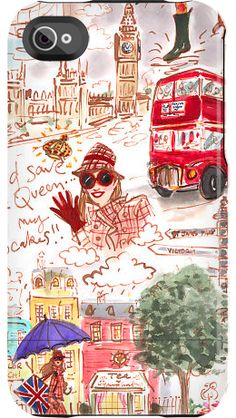 """#Travel to #London with #love """"London Love"""" by Izak Zenou for the iPhone 4/4S Capsule  #fashionillustration #trafficnyc"""