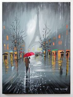 DesertRose:::PETE RUMNEY ART RAIN IN PARIS EIFFEL TOWER ORIGINAL PAINTING RED UMBRELLA LOVE