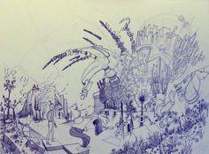 """""""..?.."""" Encre / papier 8P (46 x 33) 2005 inachevé"""
